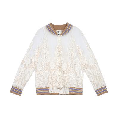 pearl button lace jumper white